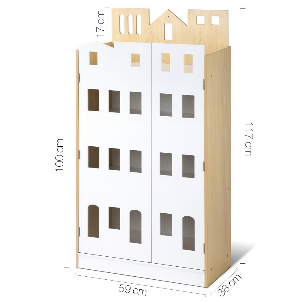 Artiss 4 tier Kids Bookcase Toy Box Organiser Childrens Bookshelf Cabinet Shelf