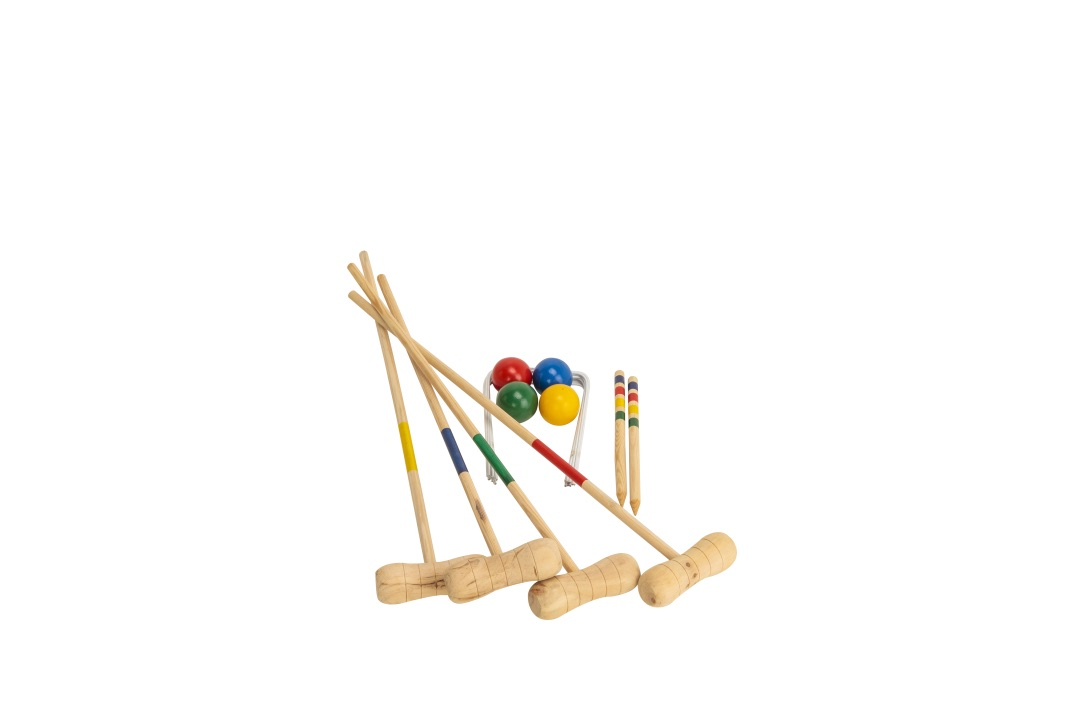 Kid's Wooden Outdoor Mini Croquet Set w/ 4 Mallets