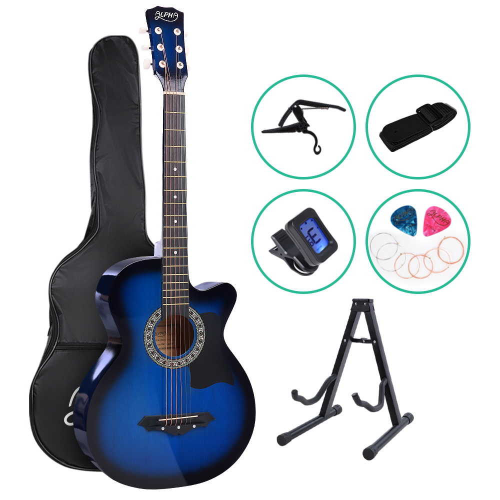ALPHA 38 Inch Wooden Acoustic Guitar with Accessories set Blue