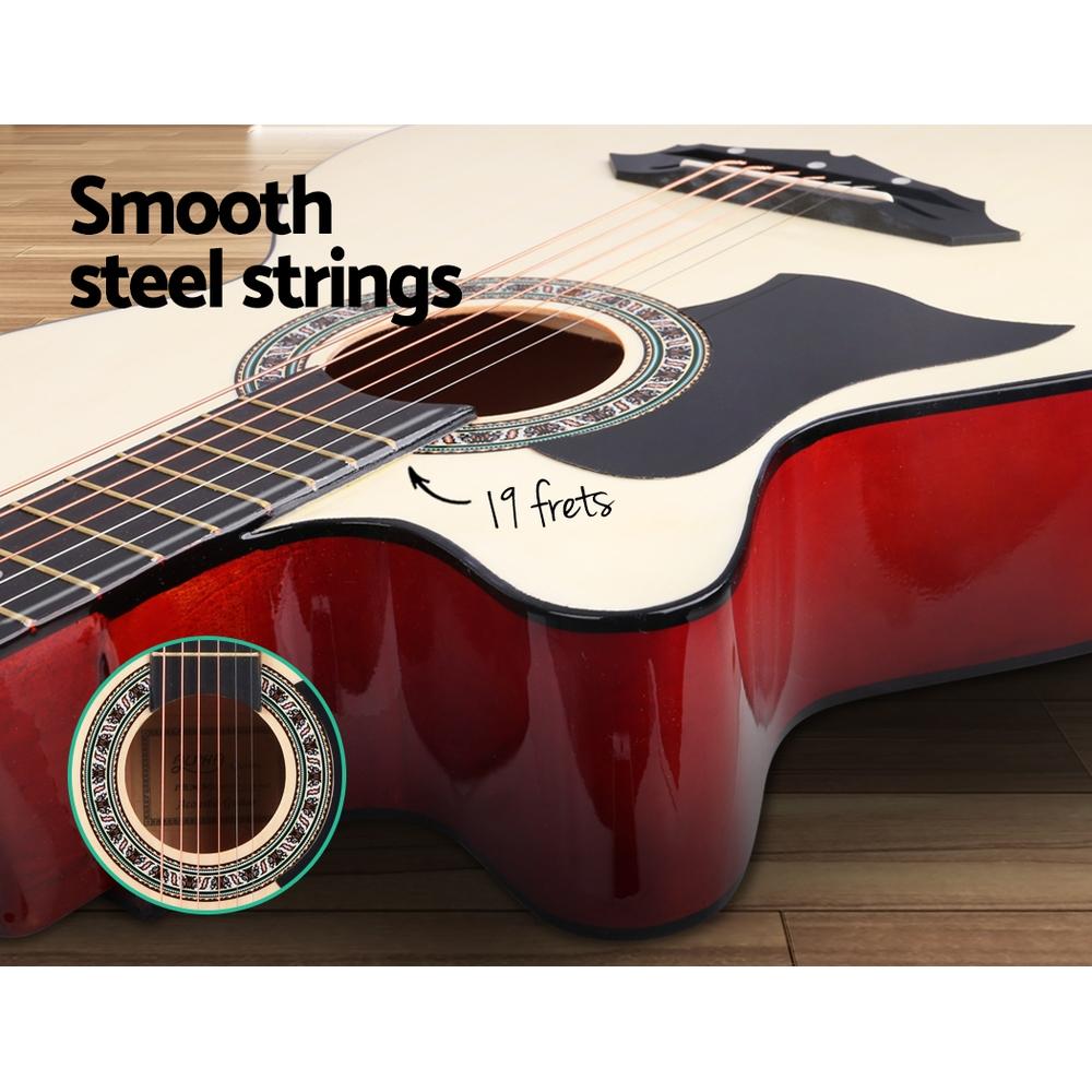 ALPHA 38 Inch Wooden Acoustic Guitar Left handed - Natural Wood
