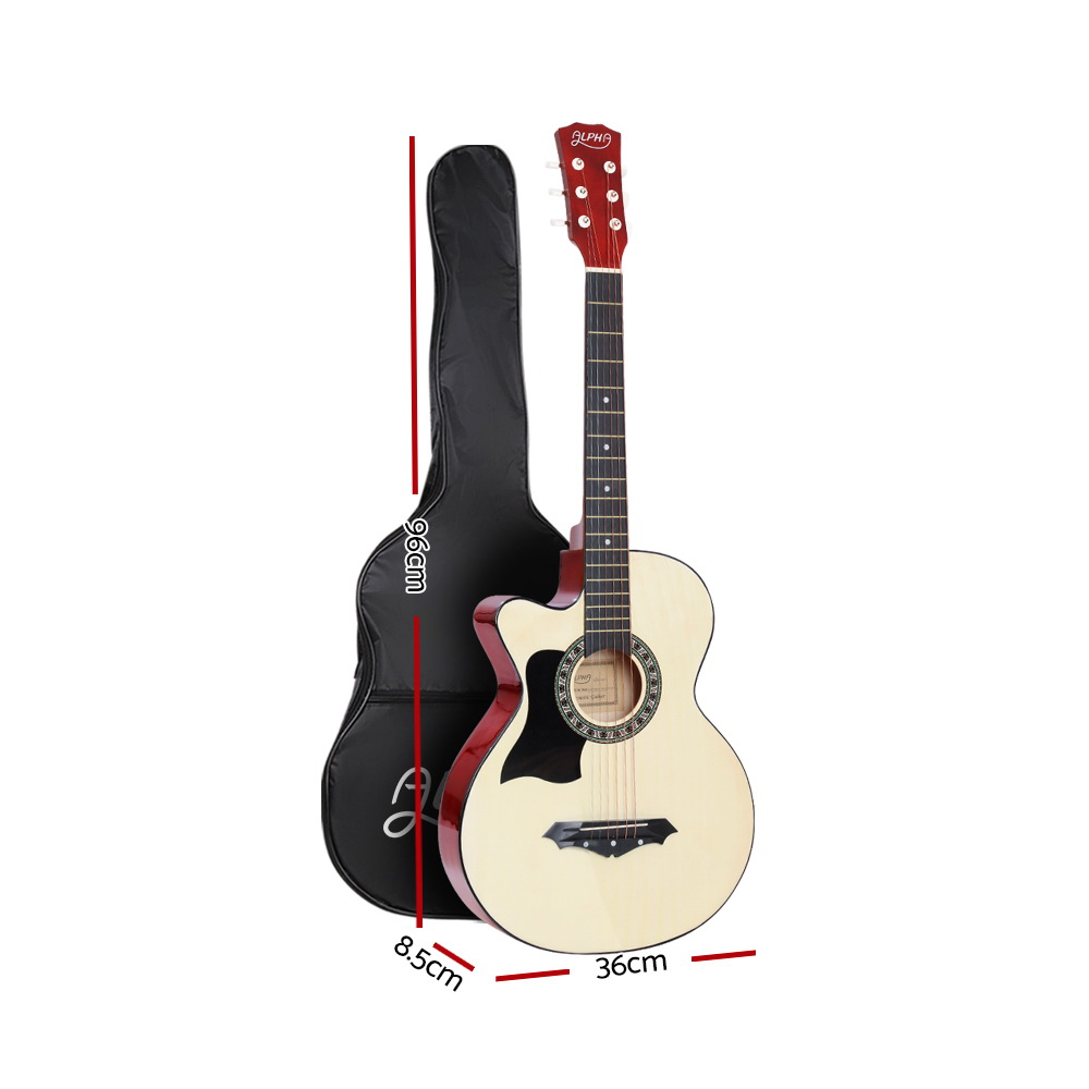 ALPHA 38 Inch Wooden Acoustic Guitar Left handed with Accessories set Natural Wood