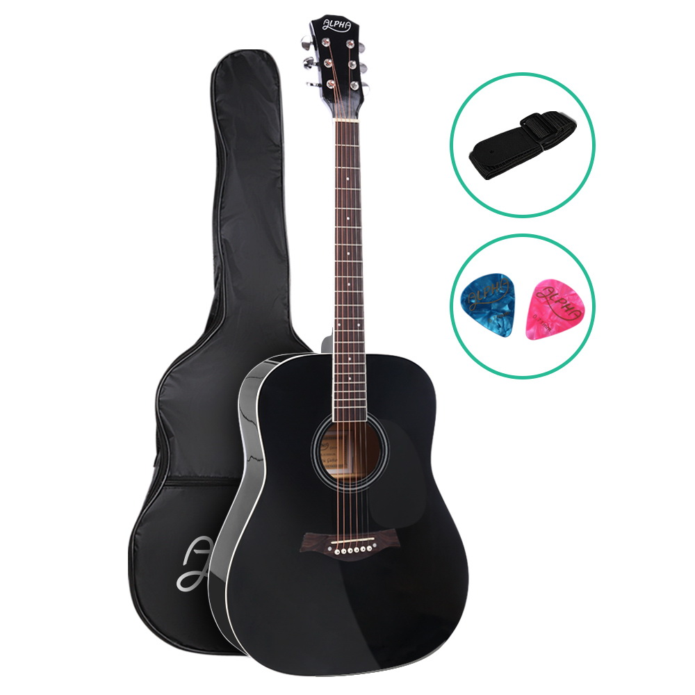 ALPHA 41 Inch Wooden Acoustic Guitar Black