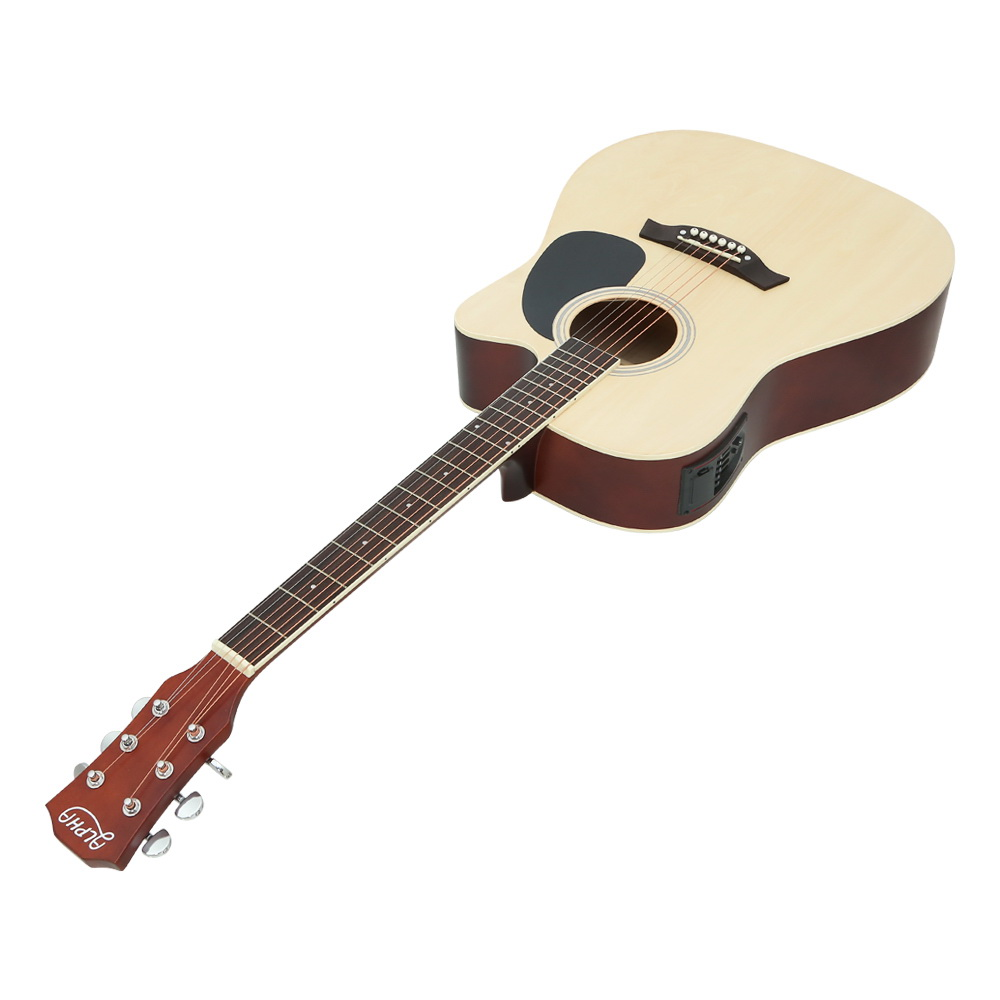 "Alpha 41"" Inch Electric Acoustic Guitar Wooden Classical with Pickup Capo Tuner Bass Natural"