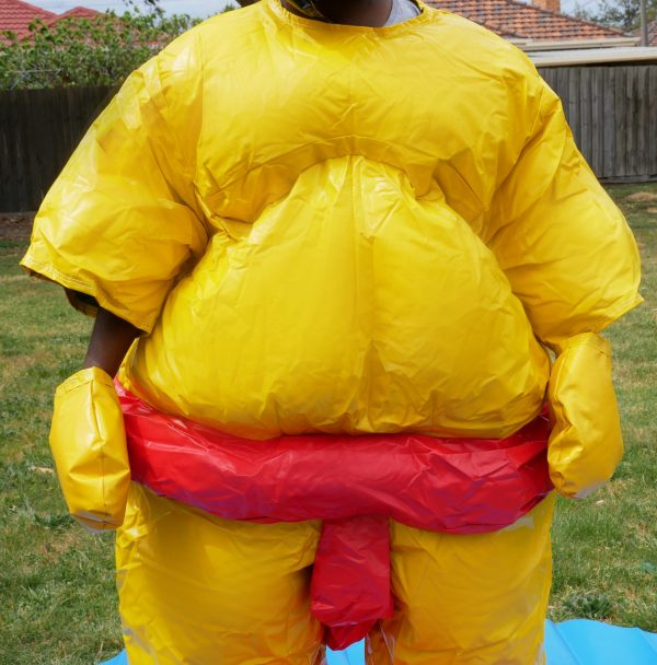 Two PVC and Fabric Adult Sumo Suits with Helmets Gloves w/ 291cm Mat