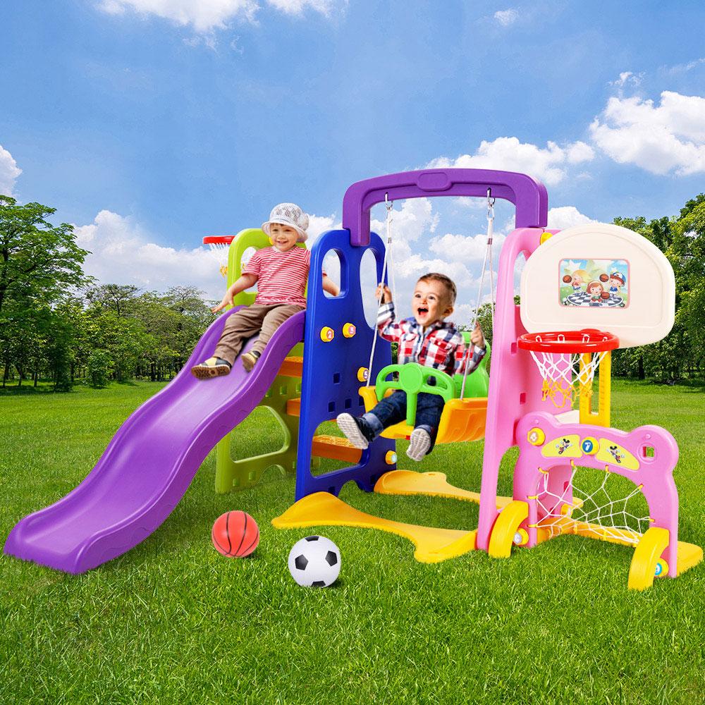 Keezi Kids 7-in-1 Slide Swing with Basketball Hoop Toddler Outdoor Indoor Play