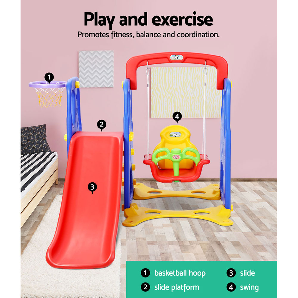 Keezi Kids 3-in-1 Slide Swing with Basketball Hoop Toddler Outdoor Indoor Play