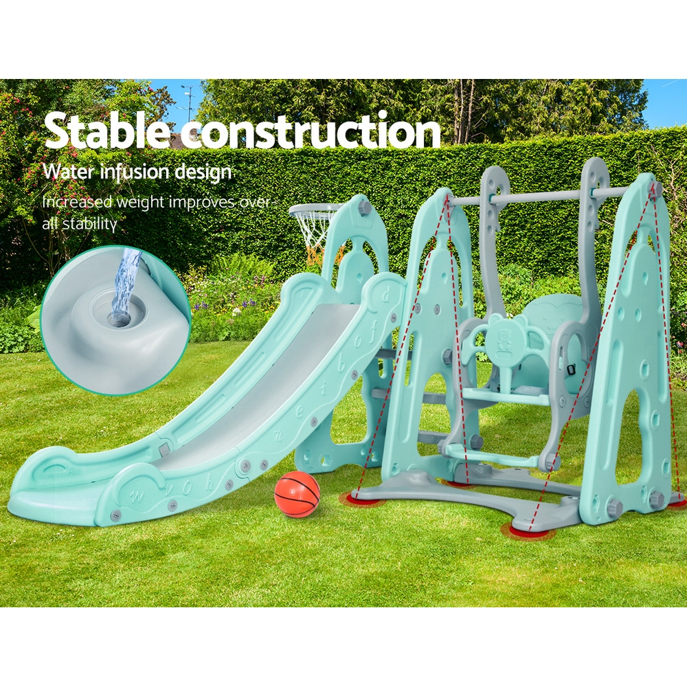 Keezi Kids Slide Swing Outdoor Indoor Playground Basketball Hoop Toddler Play Green