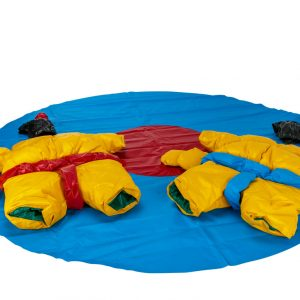 Two PVC and Fabric Kids Sumo Suits with Helmets Gloves w/ 291cm Mat