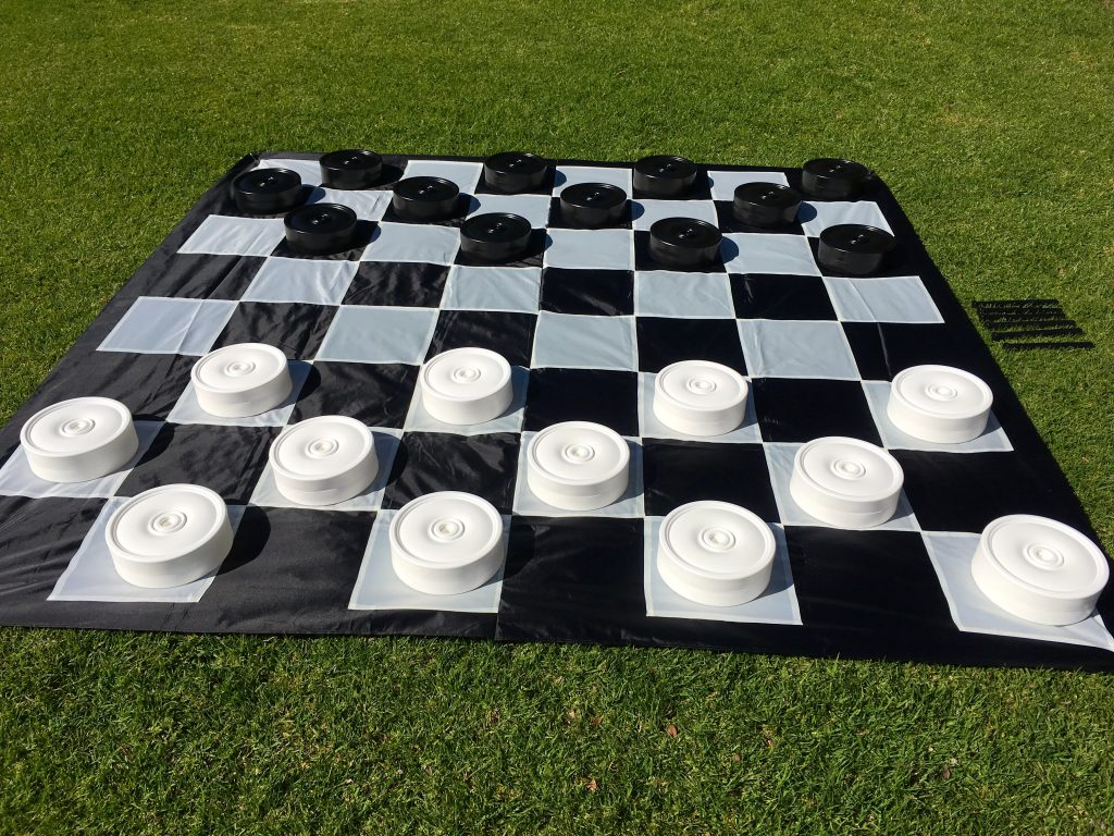 Giant Size Outdoor Draughts Checkers Game Set w/Mat 3x3m