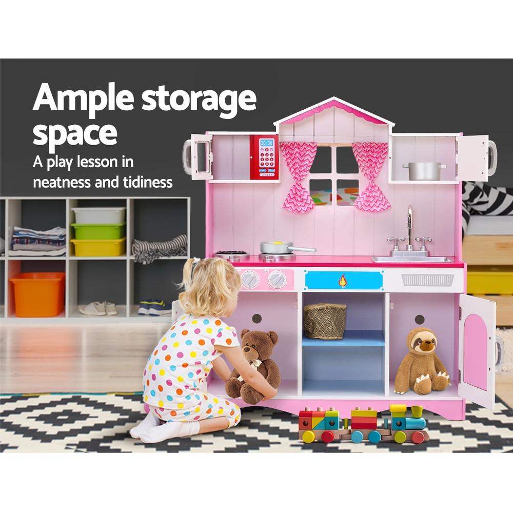 Keezi Kids Kitchen Set Pretend Play Food Sets Childrens Utensils Toys Pink