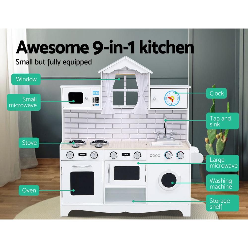 Keezi Kids Kitchen Set Pretend Play Food Sets Childrens Utensils Toys White