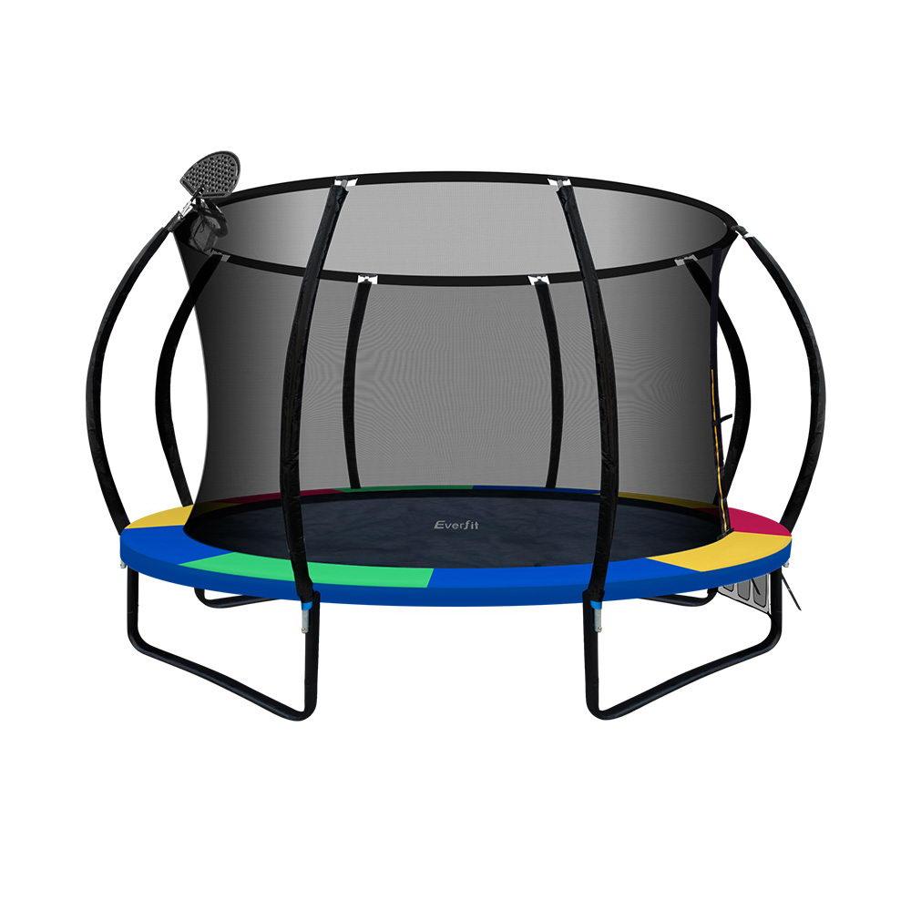Everfit 12FT Trampoline With Basketball Hoop - Rainbow