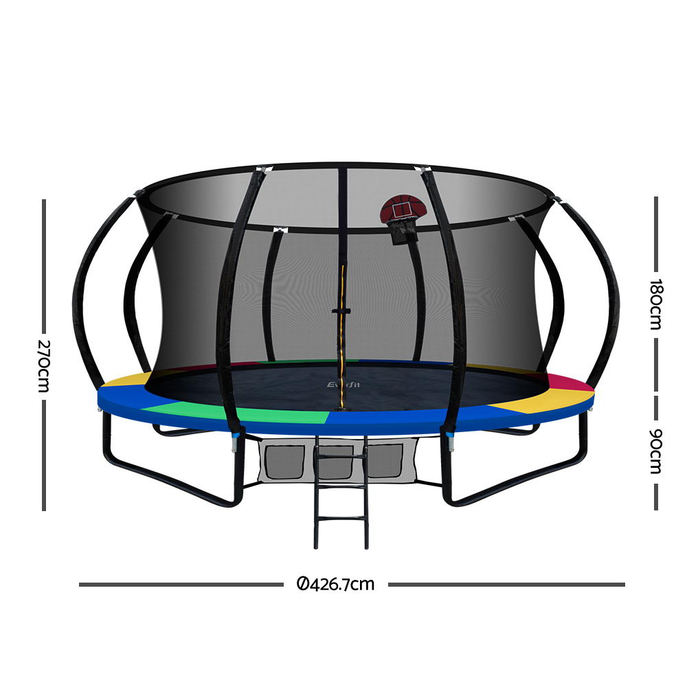 Everfit 14FT Trampoline With Basketball Hoop - Rainbow