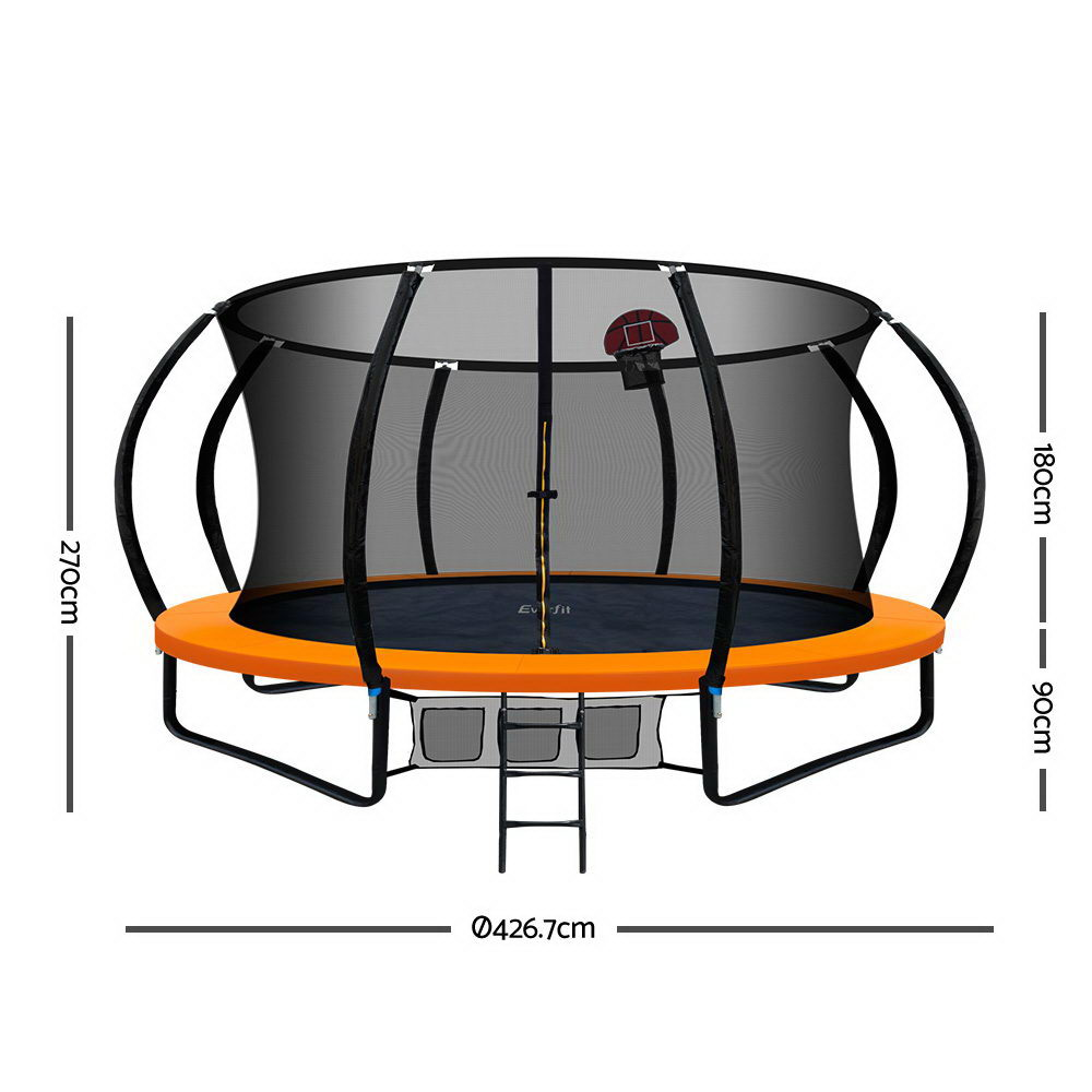 Everfit 14FT Trampoline With Basketball Hoop - Orange