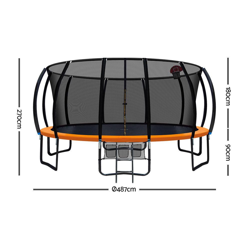 Everfit 16FT Trampoline With Basketball Hoop - Orange