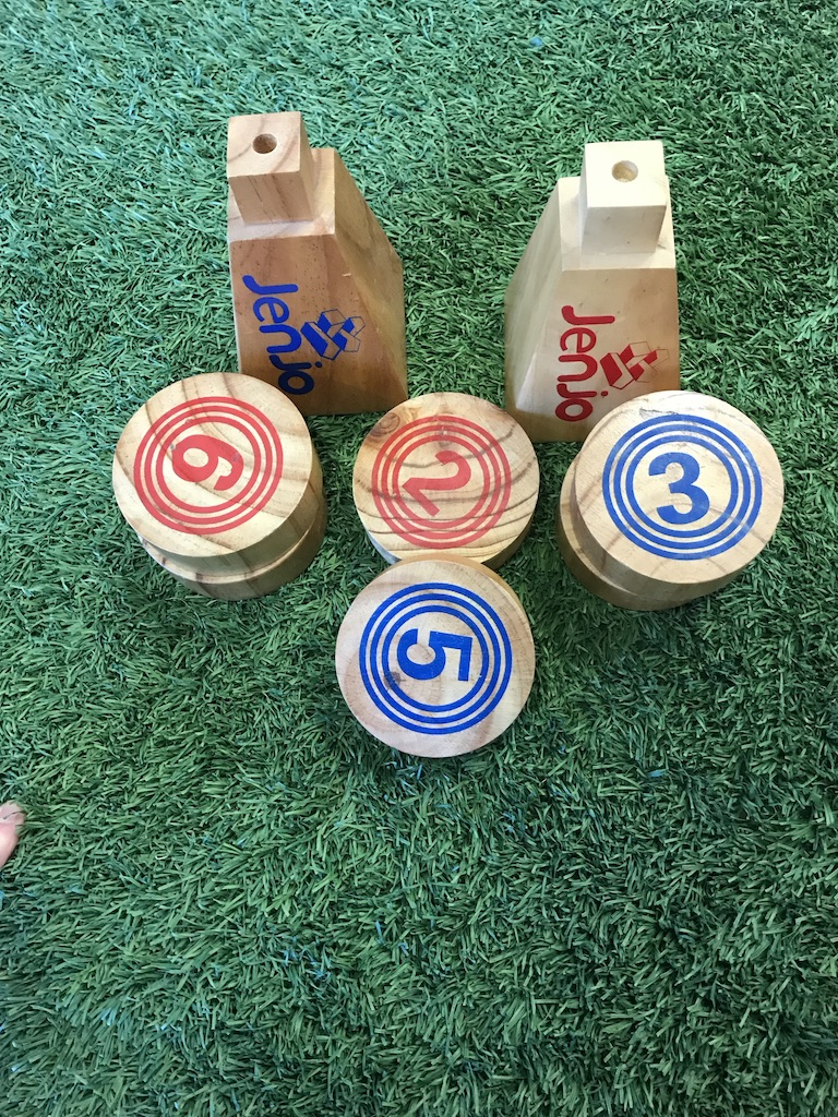 Wooden Rollers Bowling Outdoor Lawn Game Set