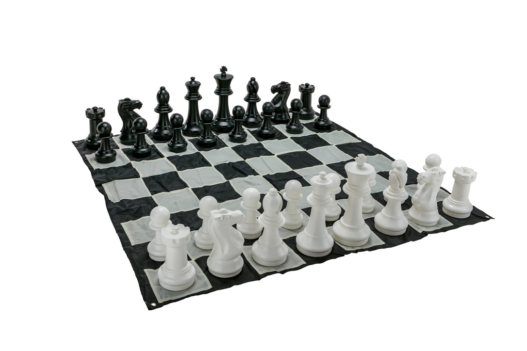Giant Size Plastic Outdoor Chess Game Set w/Mat 1.5x1.5m