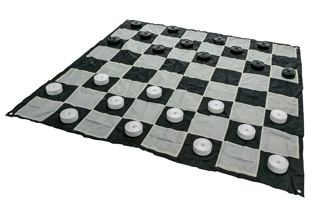Giant Size Plastic Outdoor Checkers Game Set w/Mat 1.5x1.5m