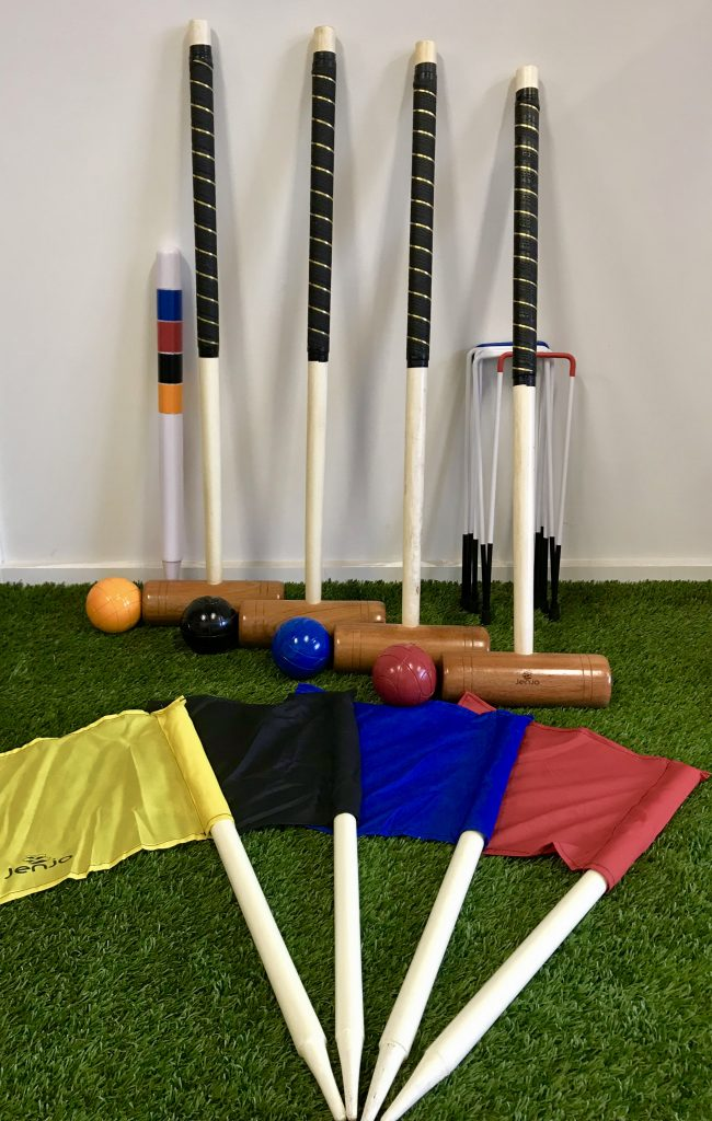 Championship Hardwood Croquet Mallet Set Game 4 Player Set w/Carry Bag