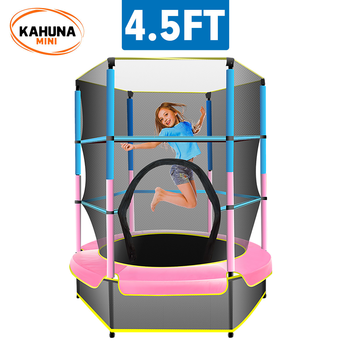 Kahuna Mini 4.5ft Trampoline Blue Pink