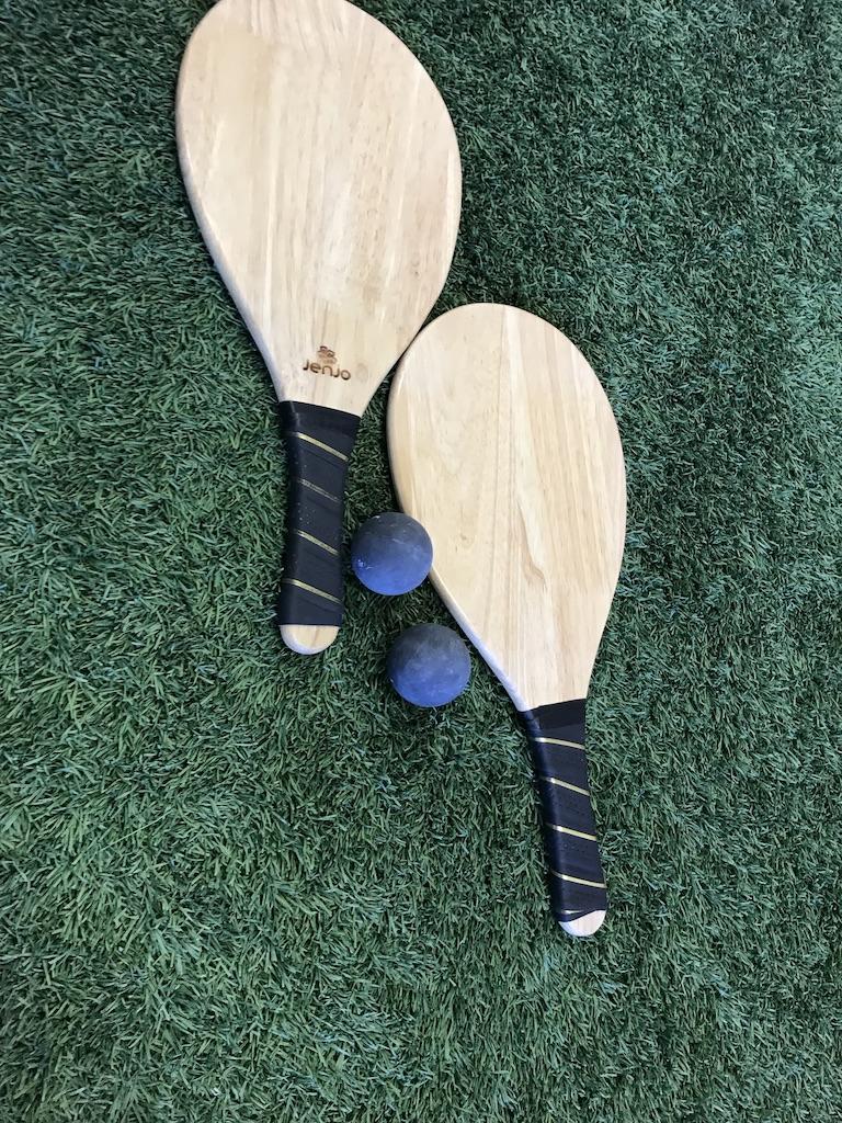 Hardwood Frescobol Beach Paddle Ball Set with Bag