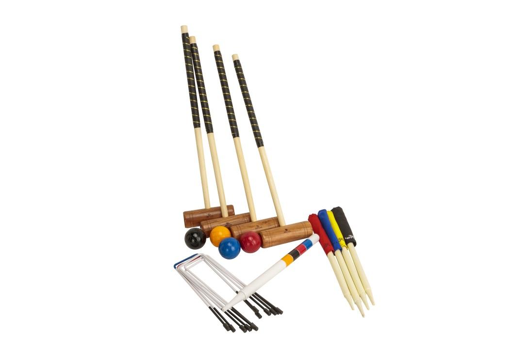 Championship Hardwood Croquet Mallet Set Game 4 Player Set w/Carry Bag