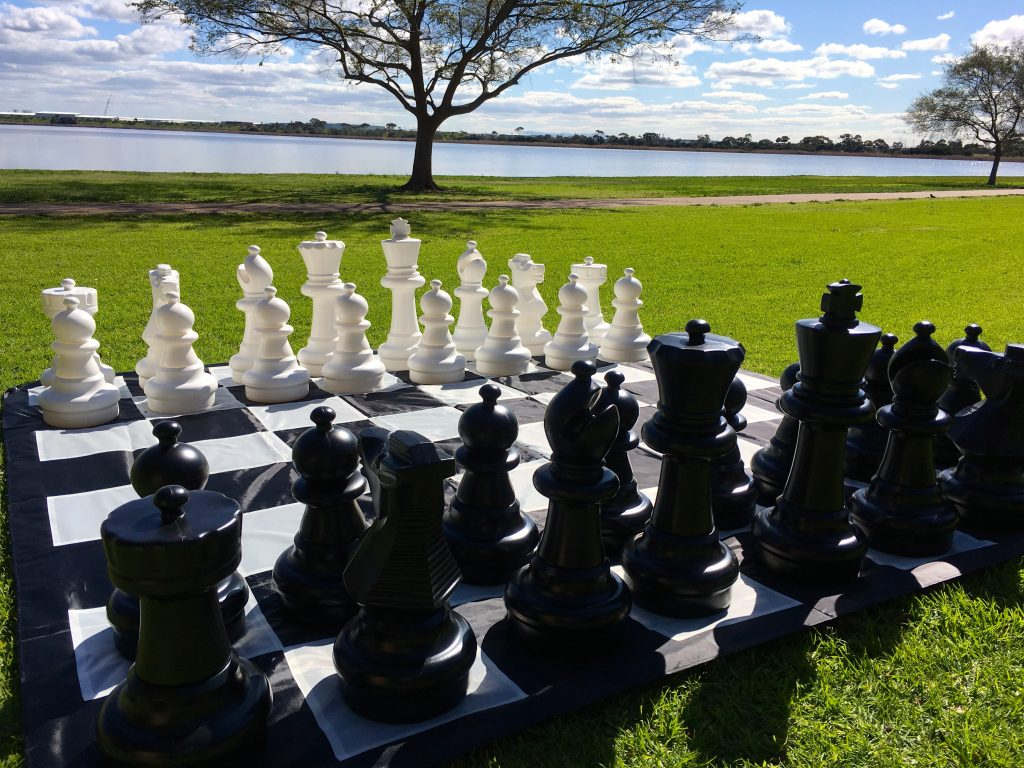 Giant Size Plastic Outdoor Chess Game Set w/Mat 3x3m