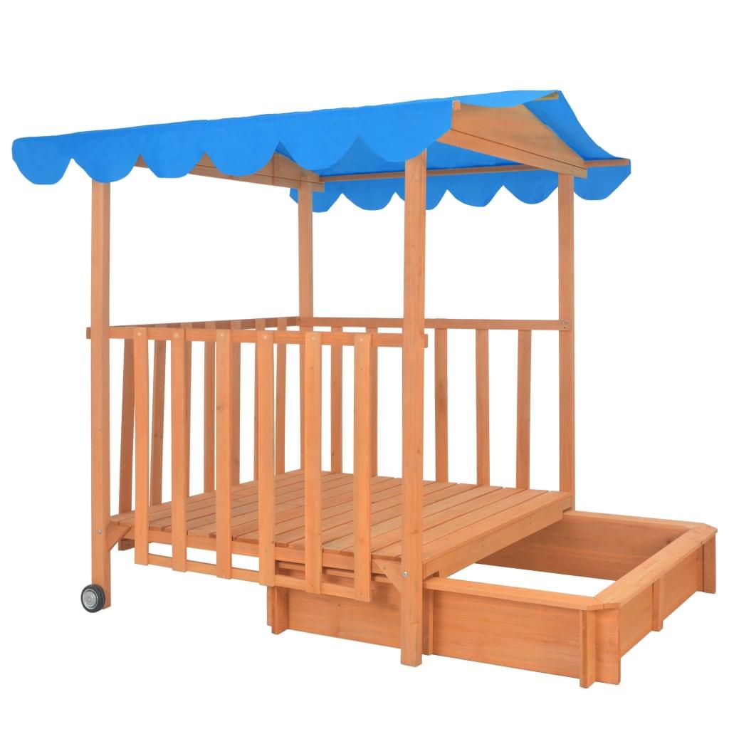 Kids Playhouse with Sandbox Wood Blue UV50