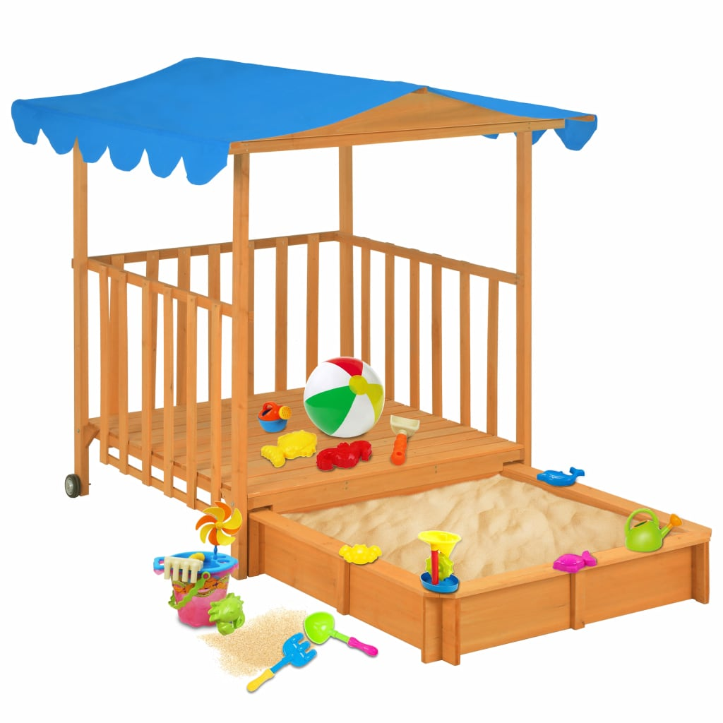 Kids Playhouse with Sandbox Wood Blue UV50