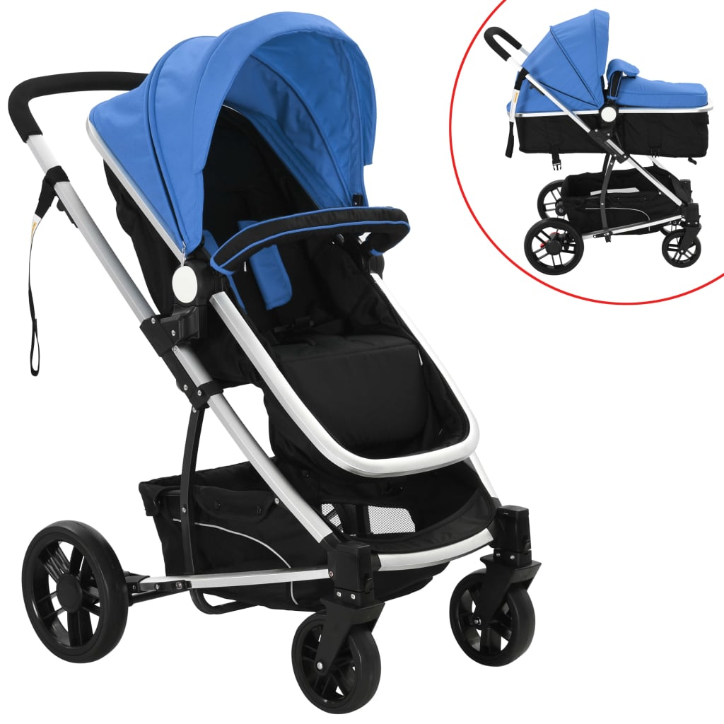 2-in-1 Baby Stroller/Pram Aluminium Blue and Black
