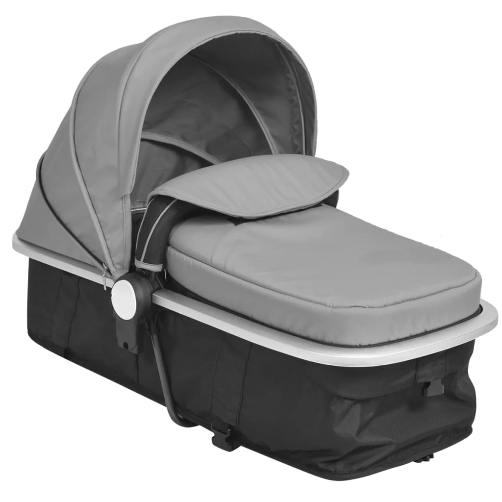 2-in-1 Baby Stroller/Pram Aluminium Grey and Black