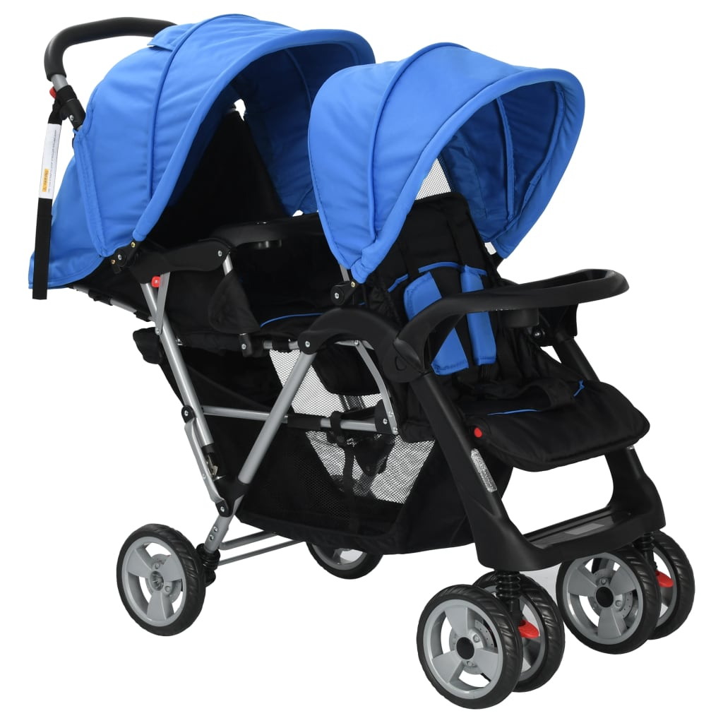 Tandem Stroller Steel Blue and Black