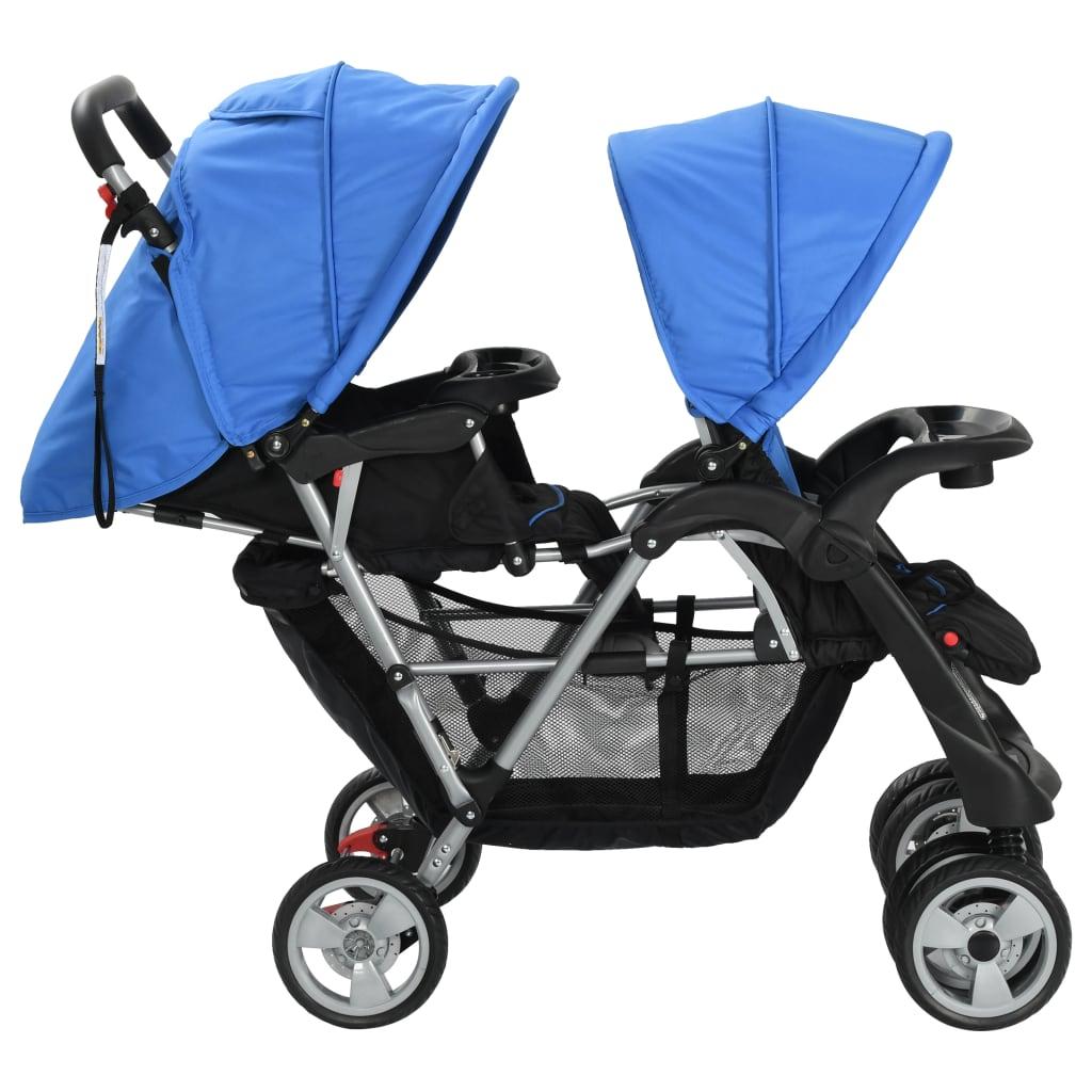 Tandem Stroller Steel Blue and Black