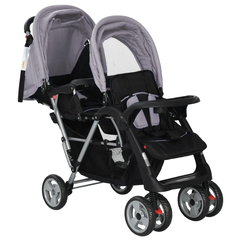 Tandem Stroller Steel Grey and Black