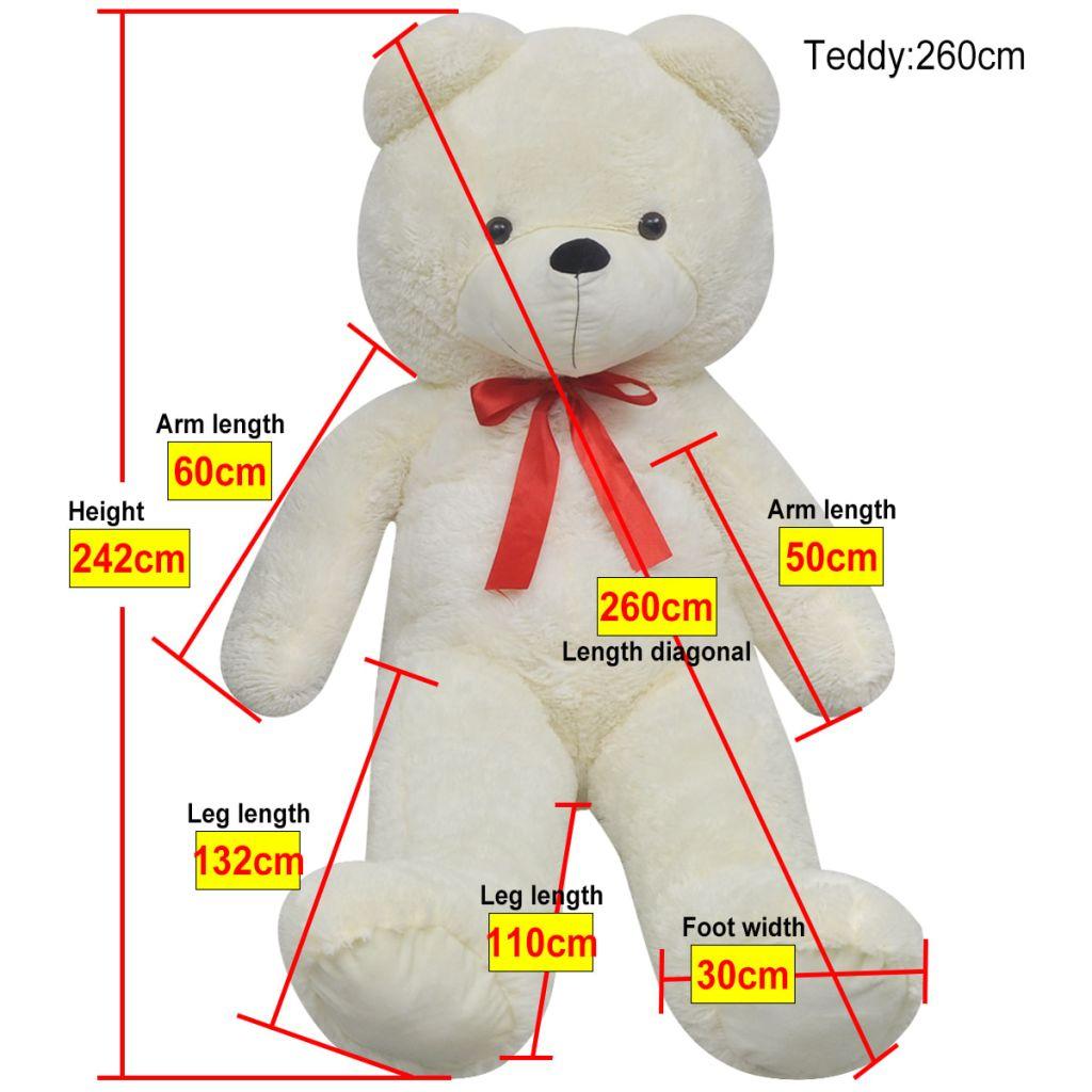 Teddy Bear Cuddly Toy Plush White 260 cm